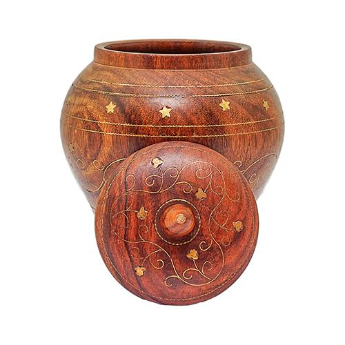 Wooden Candy Jar Brass