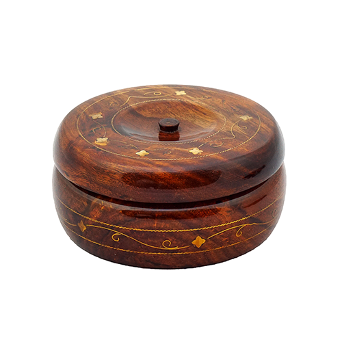 Wooden Candy Jar Brass