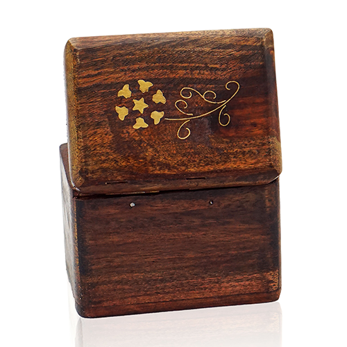 Wooden Card Box Brass