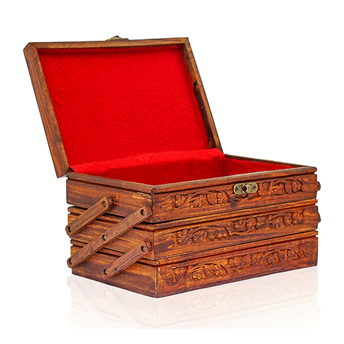 Wooden Jewelry Box Carved