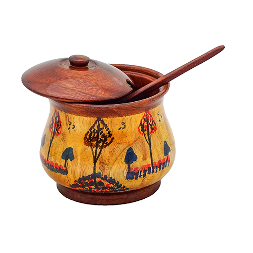 Wooden Sugar Pot Fancy