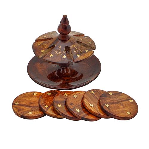 Wooden Tea Mat Fancy Brass