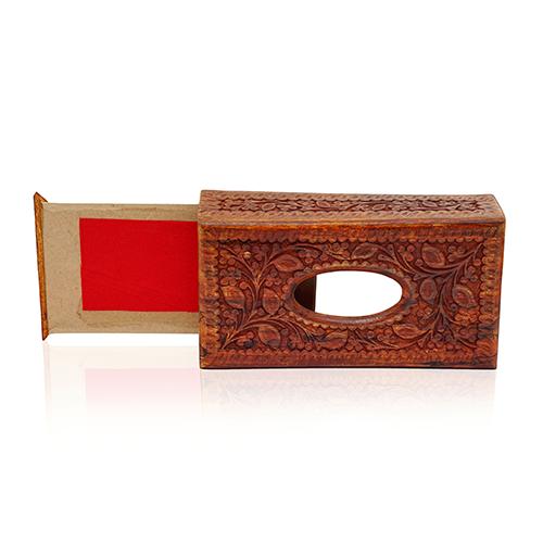 Wooden Tissue Box Carved Design