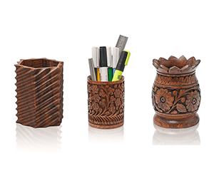 wooden pen jars office decor