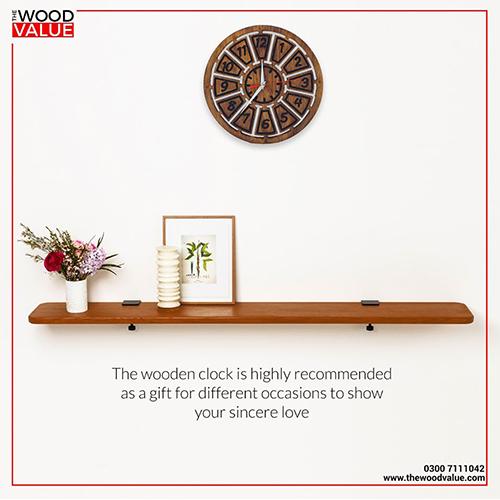 Wooden Clock Small Blocks Brown Customized