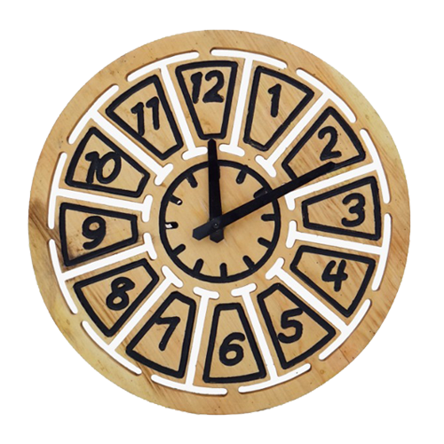 Wooden Clock Small Blocks Yellow Customized