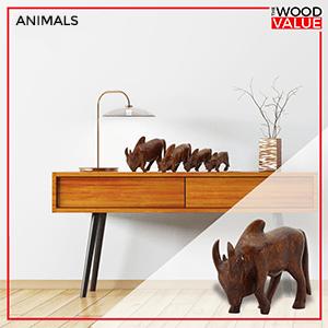 wooden animals statues figurines
