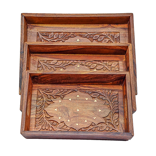 Wood Carving A Handicraft Art and Engraving Wooden Tray Set