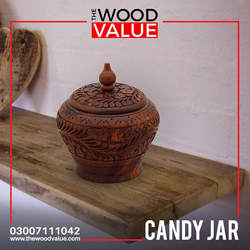 Wooden Candy Jar Carved