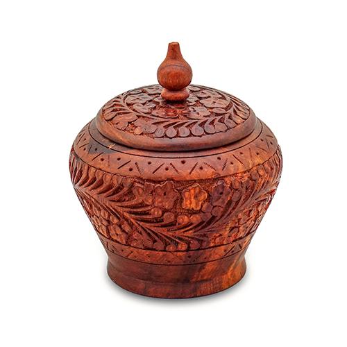 Wooden Candy Jar Carved