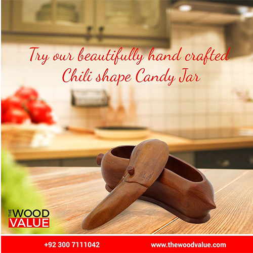 Wooden Candy Jar Chili
