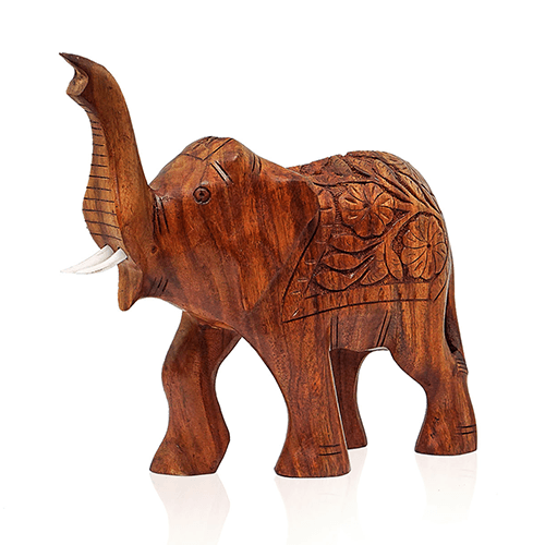 Wood Carving A Handicraft Art and Engraving Wooden Elephant Carved