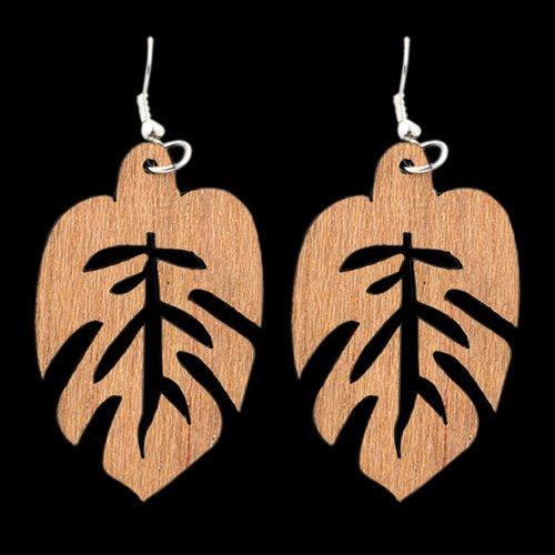 Wooden Earring Leaf 102