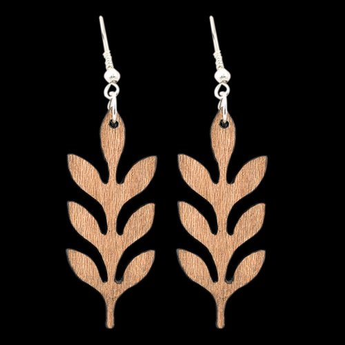 Wooden Earring Leaf 103