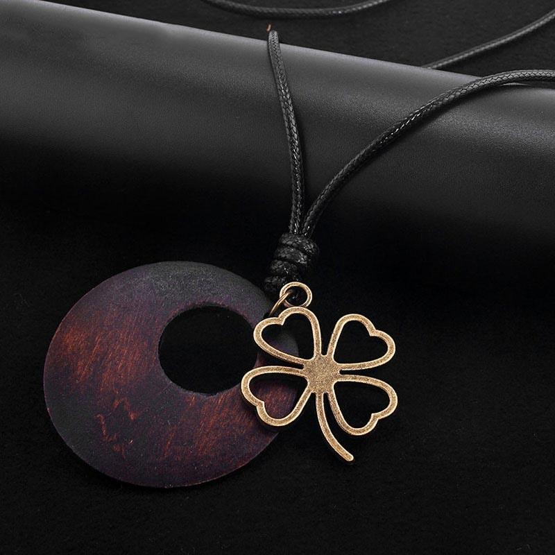 Copper Tone Wooden Pendant for Women's Fashion