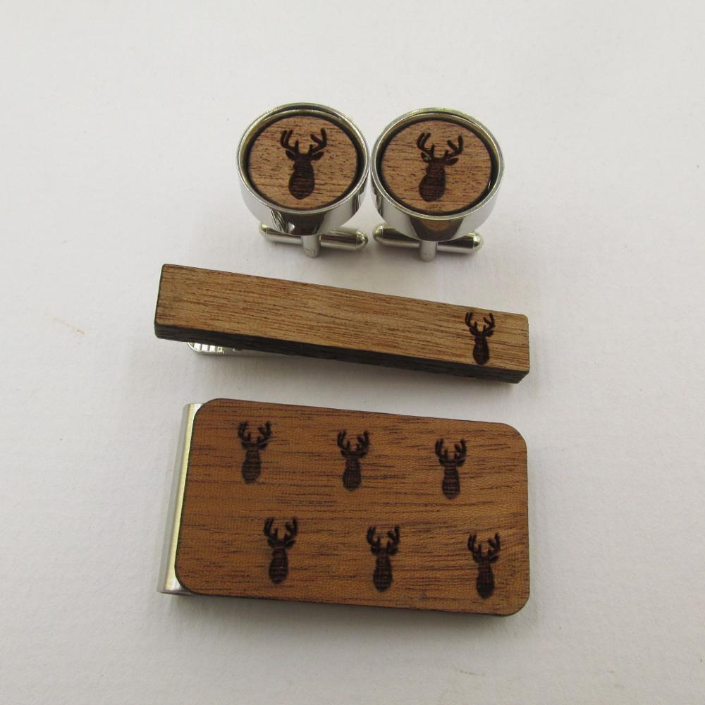 Wooden Cufflinks and Tie Clip