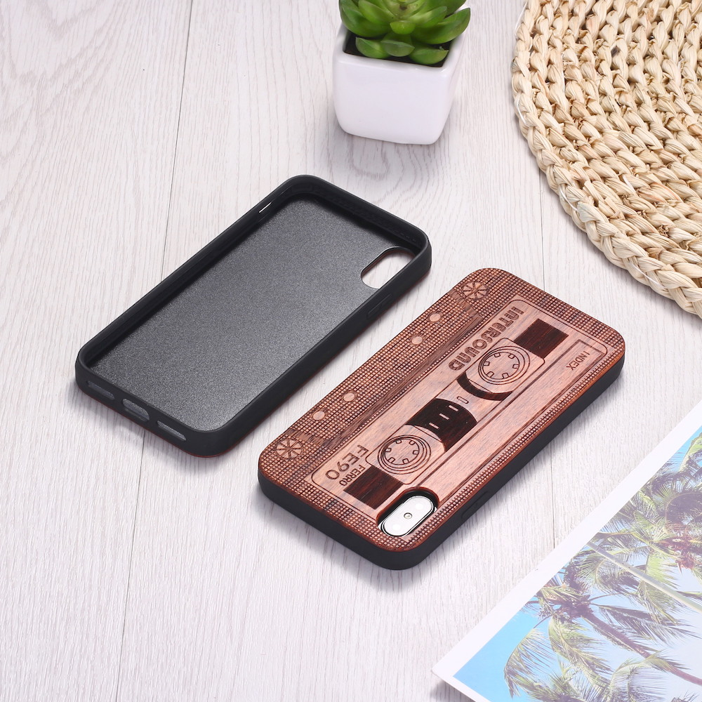 Beauty and Protection to Phones Cassette Tape Wood Phone