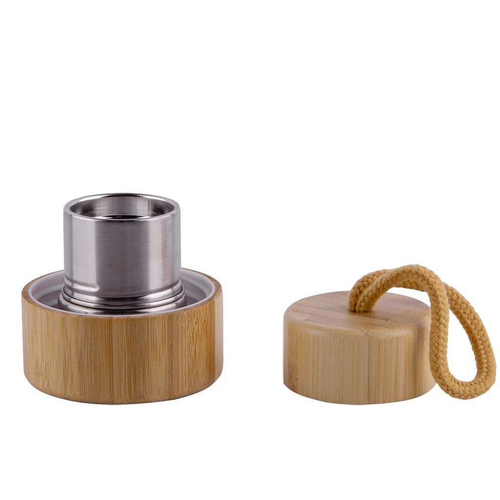 Water Bottle with Wooden Cup Cover