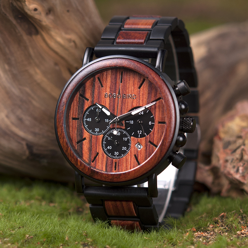 Wooden Quartz Wrist Watches Boho Style Wooden Men's Watch