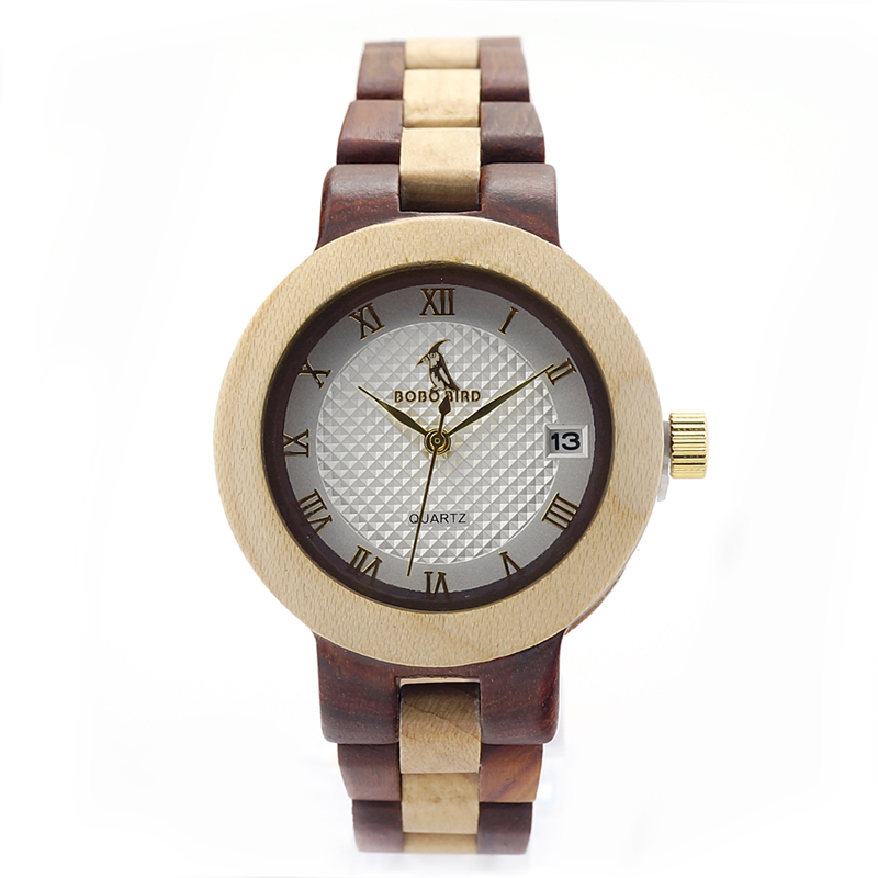 Unisex Mosaic Wooden Bracelet Watch