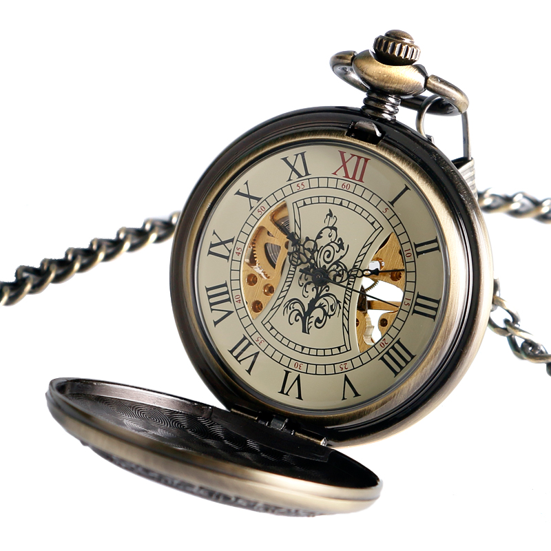 Retro Style Pocket Watch with Wooden Pattern