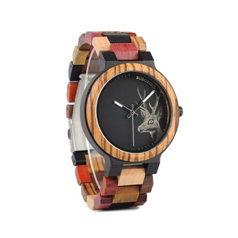 Wooden Colorful Strap Watches for Men's Fashion
