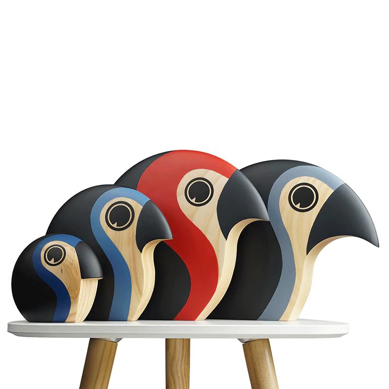 Handmade Wooden Ostrich Figurines
