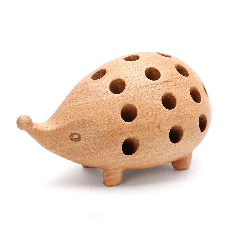 Handmade Wooden Hedgehog Figurines
