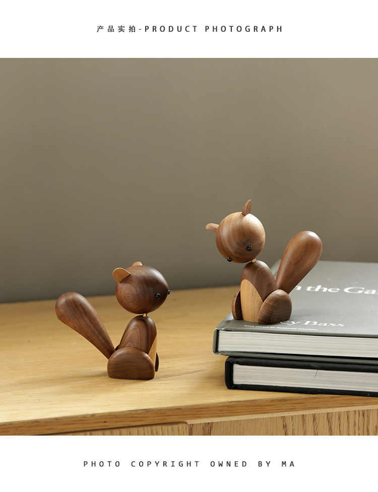 Handmade Wooden Squirrel Figurines