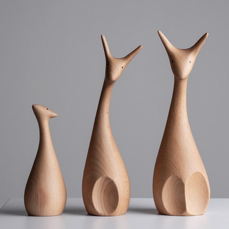 Handmade Wooden Deer Figurines