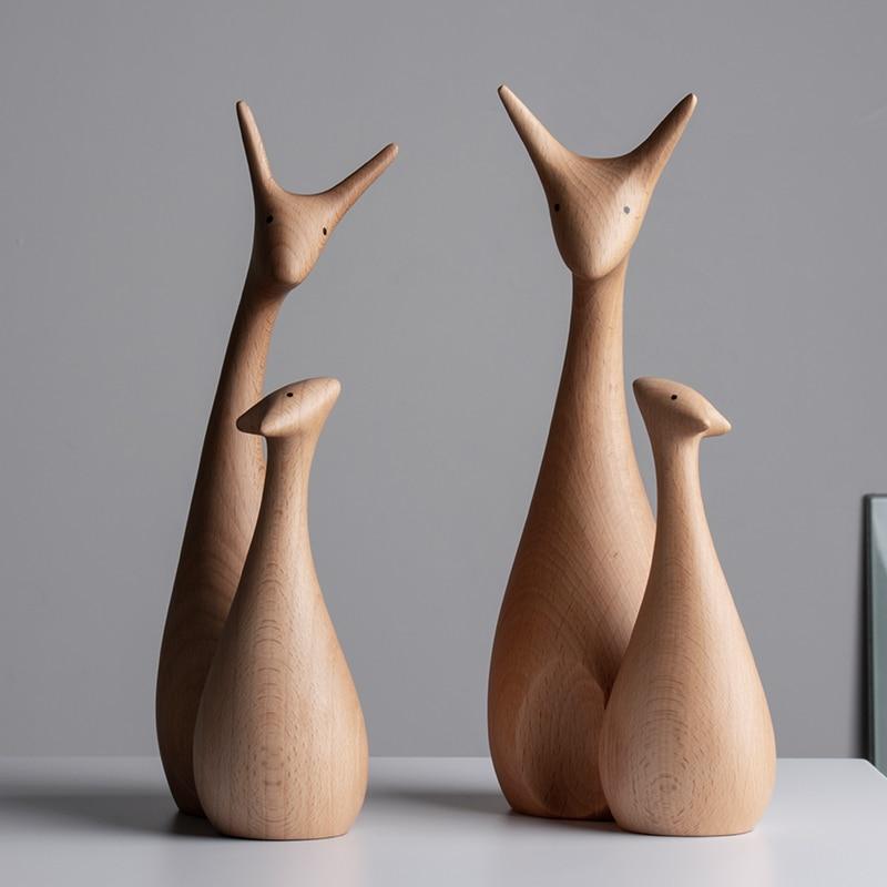 Buying Famous Wooden Sculptures Handmade Wooden Deer Figurines