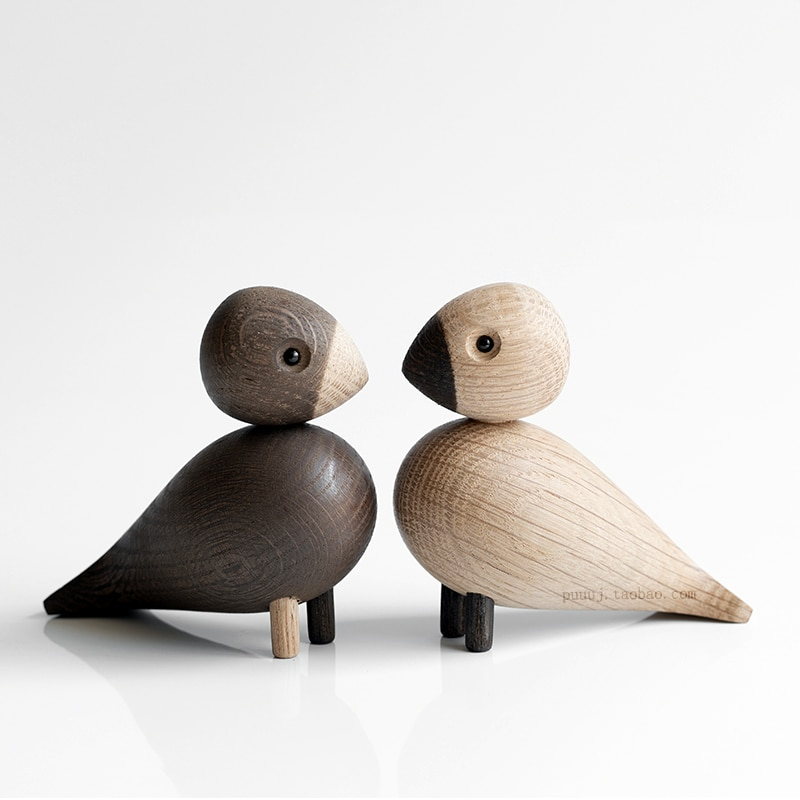 Wooden Figurines Animals Lark Bird