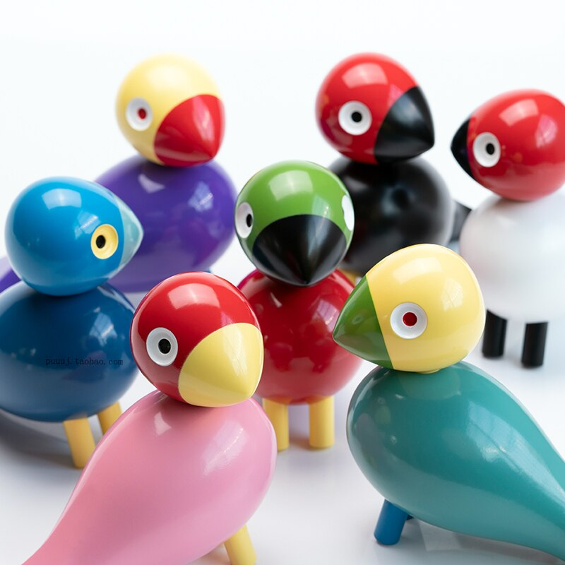 Handmade Bird Figurines Ornaments Colorful Painted