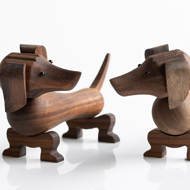 Handmade Wooden Dachshund Dog Figures