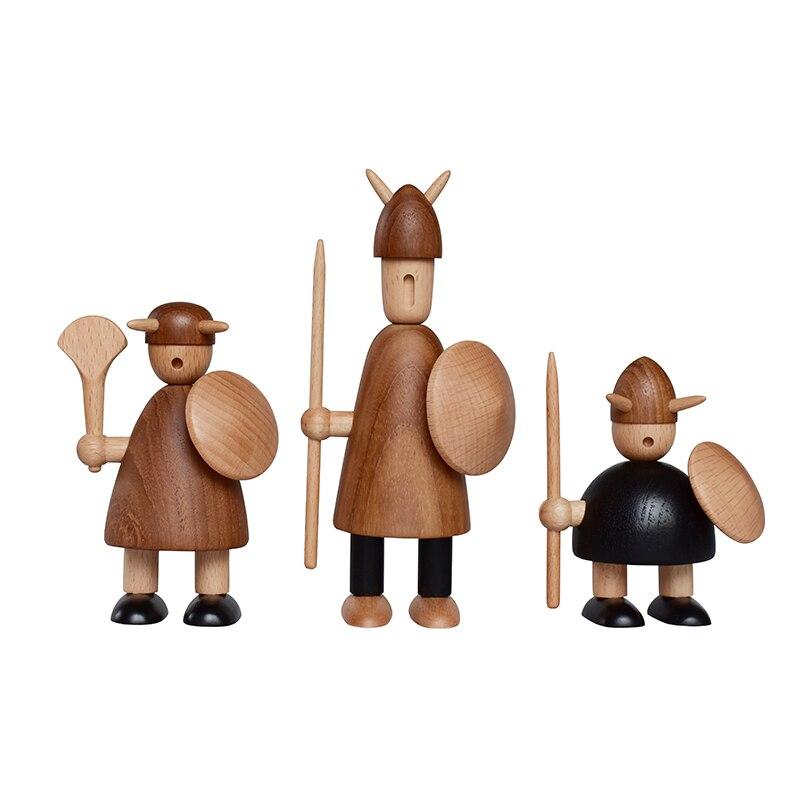 Handmade Wooden Viking Figurines