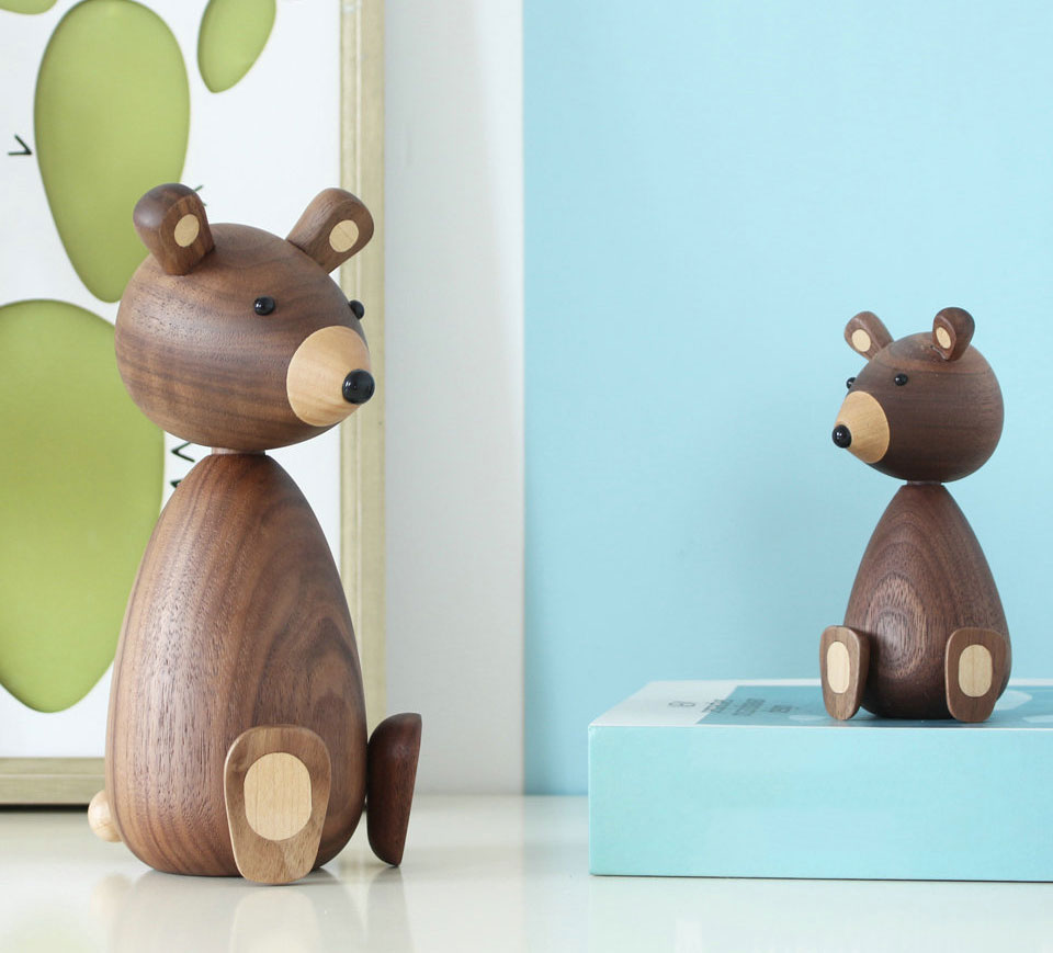 Handmade Wooden Brown Bear Figurines Ornaments for Home Decor