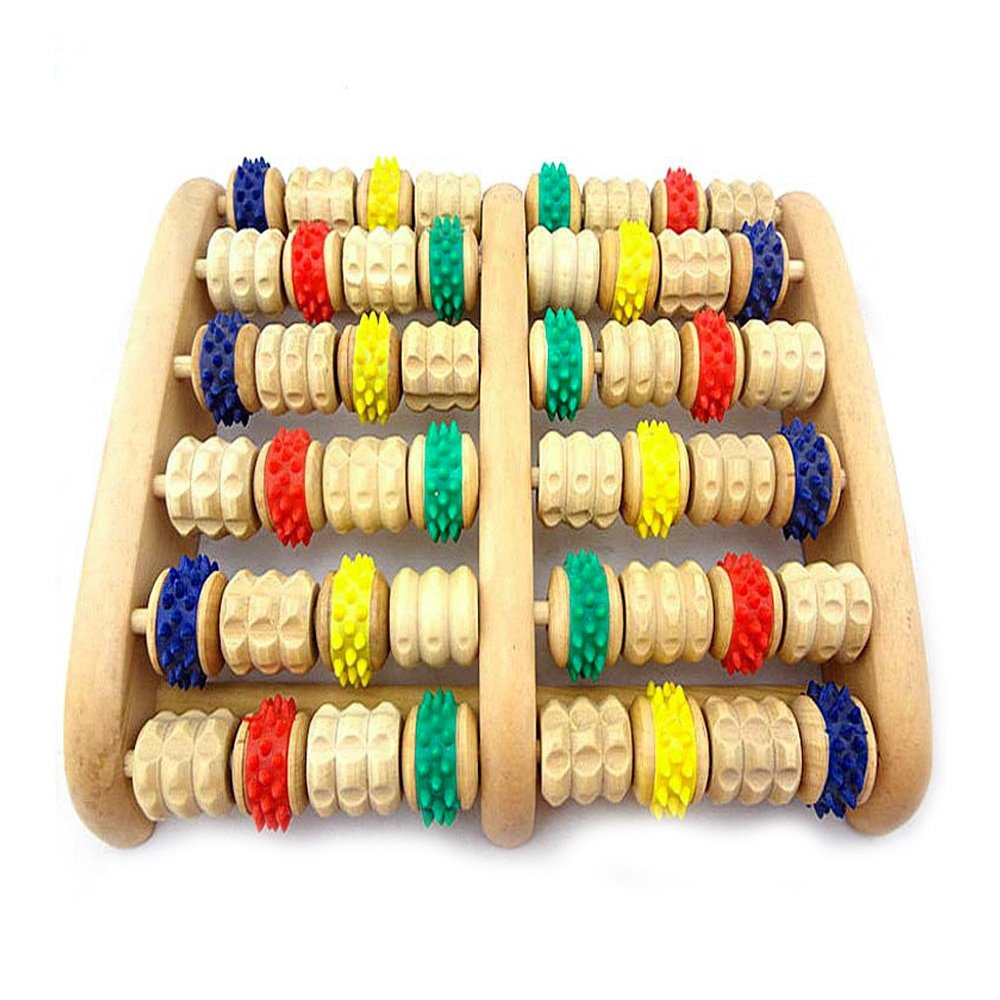 Colorful Wheel Natural Wood Foot Massage Rollers with Rubber Knobs 48 Rollers Foot Wellness Massager Instrument Foot Care Tool