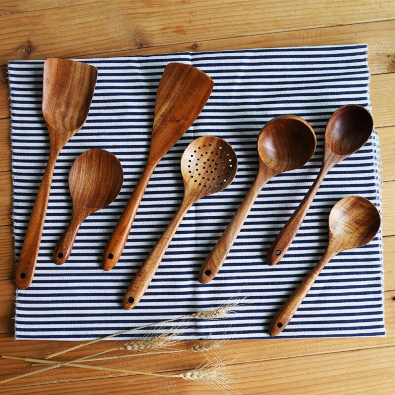 Wooden Kitchen Spoons Set