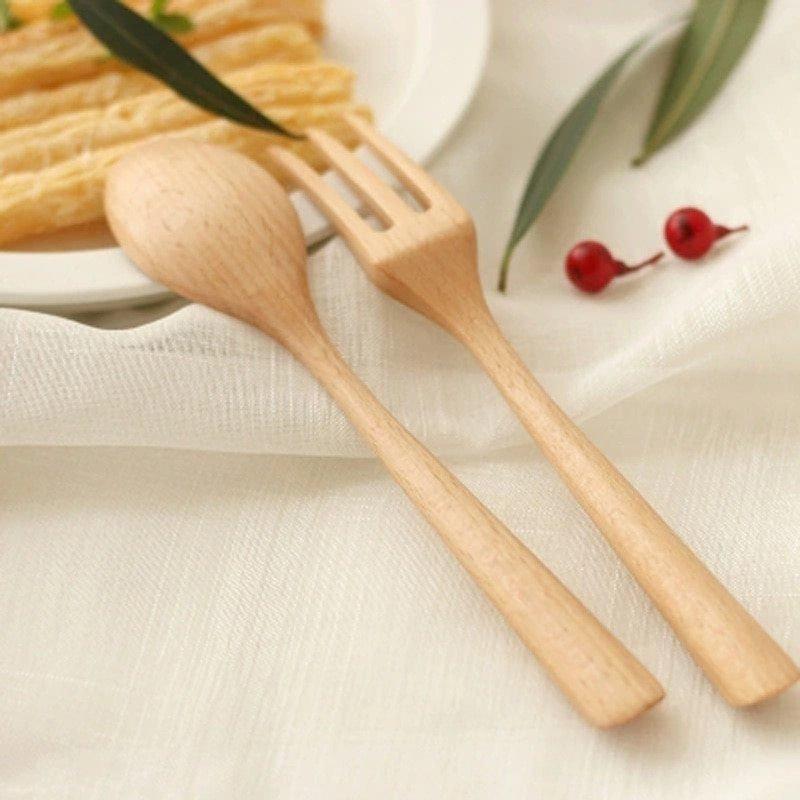 Wooden Fork Desert Teaspoon