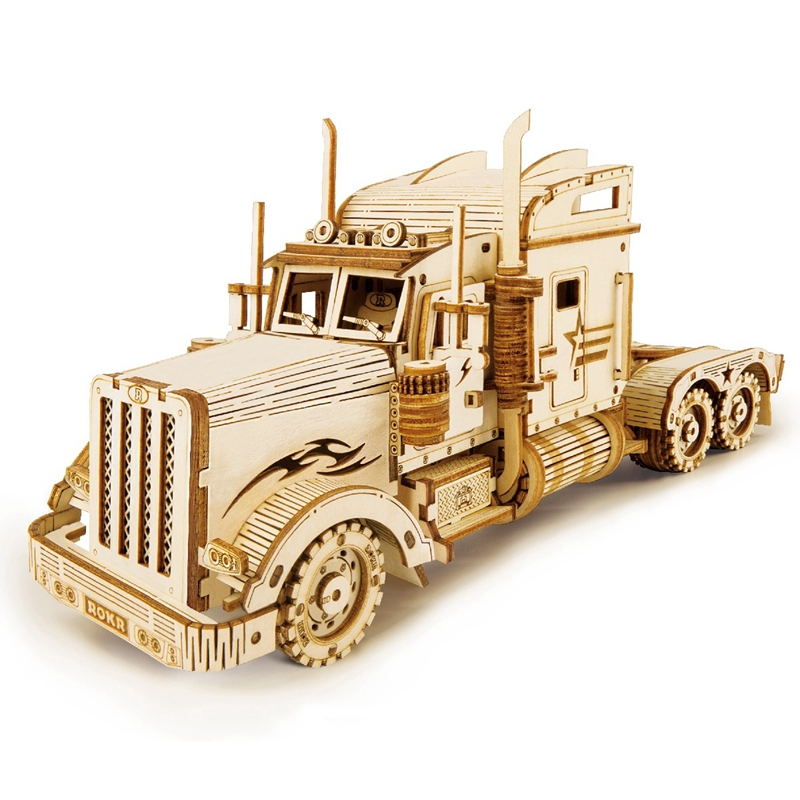 Heavy Truck Wooden Puzzle Game Assembly Toy Gift for Children