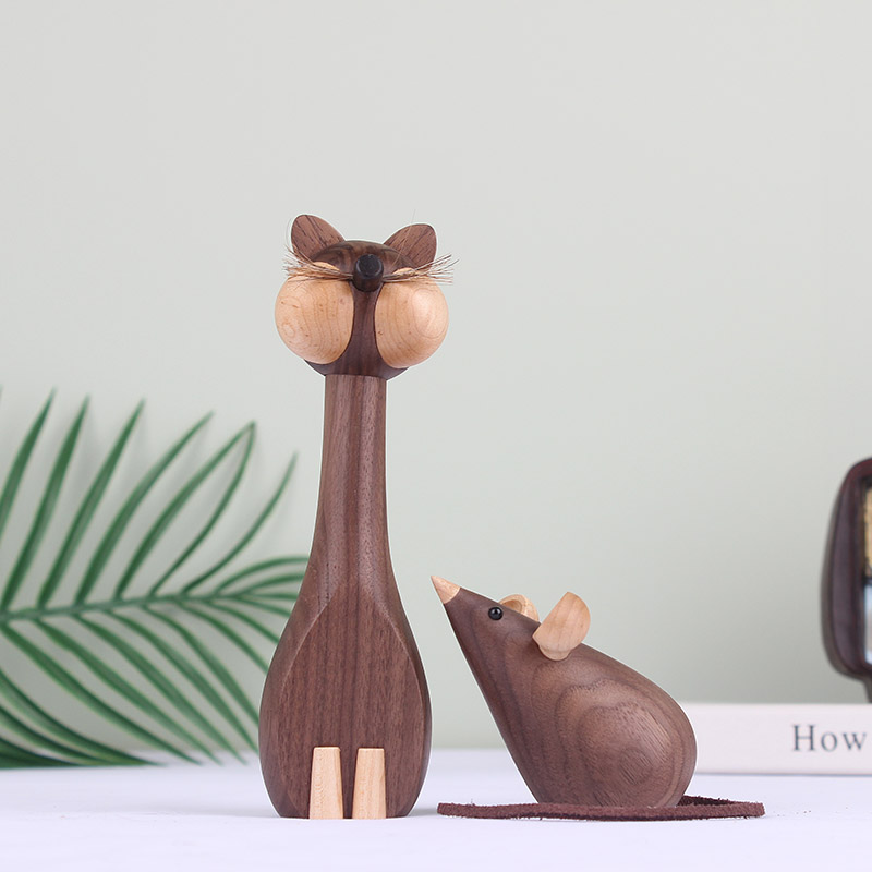 Handmade Wooden Cat Rat Figurines Ornaments for Home Decor