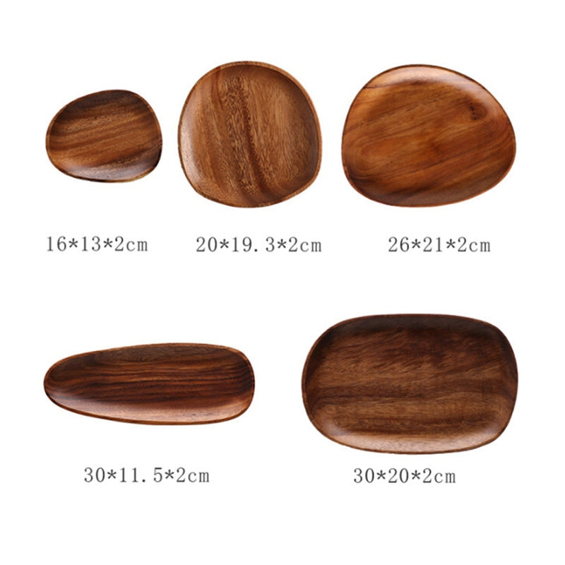 Oval Solid Wood Plates