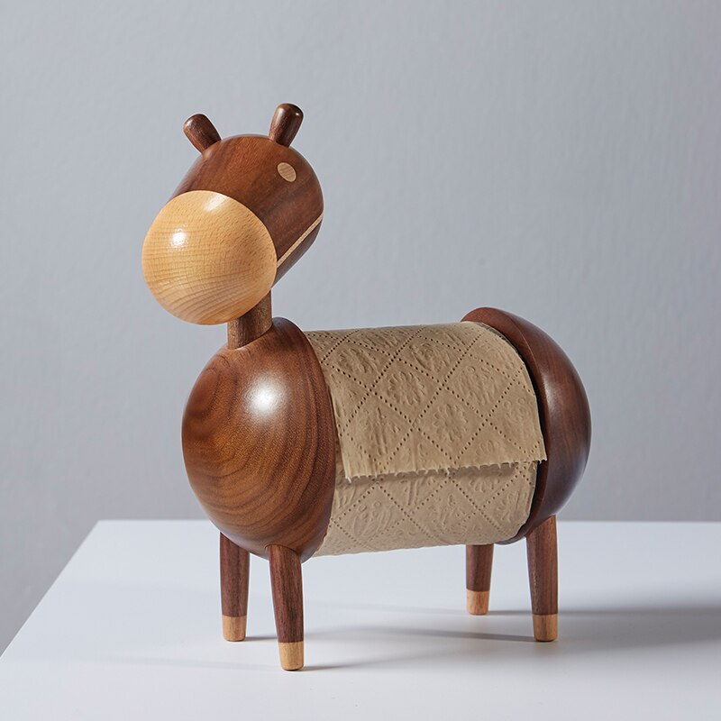 Donkey Paper Holder Wood Figurines