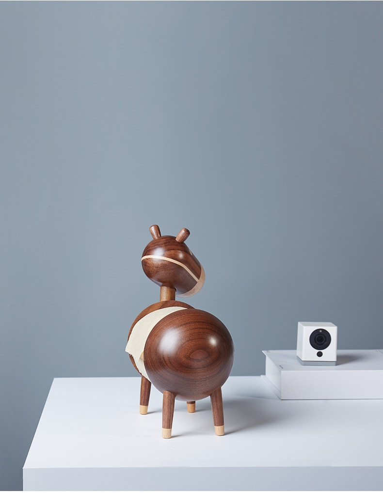 Home Decor Roll Holder Wooden Living Room Kitchen Paper Towel Holder Little Donkey Figurines Home Cartoon Crafts Bathroom Rack