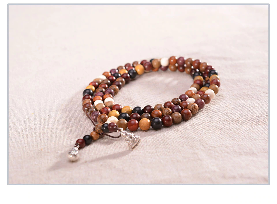 108 Variety of Sandalwood Tibetan Buddhist Prayer Beads Bracelets DIY Buddha Mala Rosary Wooden Charm Bracelet for Men Women