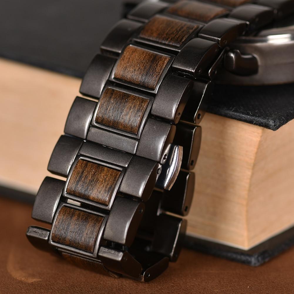 BOBO BIRD Luxury Wood Stainless Steel Men Watch Stylish Wooden Timepieces Chronograph Quartz Watches relogio masculino Gift Man