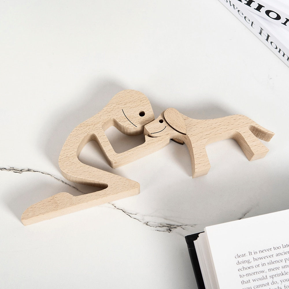Human and Dog Wooden Sculpture
