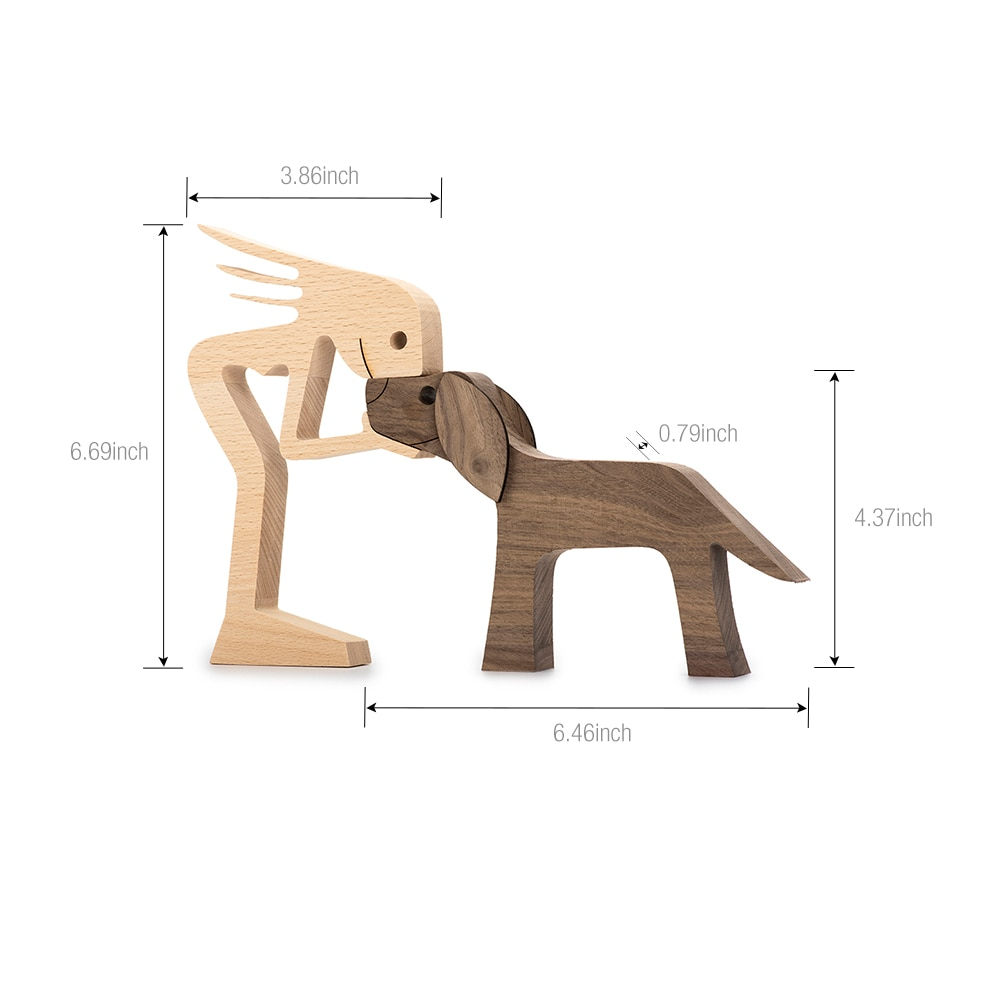 Humen and Dog Craft Figurine Desktop Table Ornament Wood Men Puppy Model Creative Home Office Decoration Gift Lovely Dropship